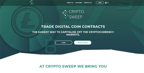 signup page cryptosweep front