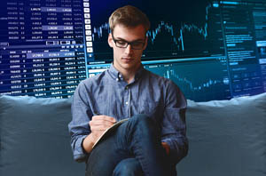 man who is checking crypto and forex