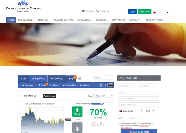 sign with prestige financial markets