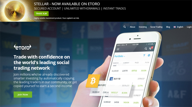 etoro broker review homepage
